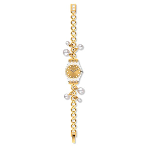 (Swatch LK363G Women's Charming Delight Gold Tone Dial Yellow Gold Steel Charm Bracelet Watch)