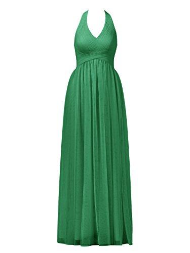 D'onore Smeraldo Damigella Alicepub Dress Da Tulle Verde Halter Abiti Maxi Sera Promenade Increspato Partito Del Da Abito aIwwfqX