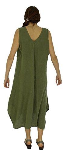 Mallorca Tunika Oliv Leinen de Damen Lagenlook Kleid HE600 Mein Design qtnOZTt0