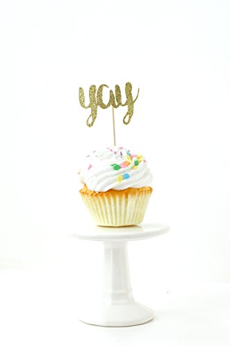24pc. YAY Gold Glitter Cupcake Toothpick Toppers
