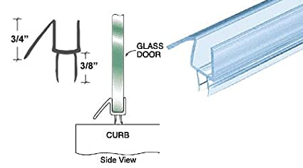 32-5//8 in long CRL Co-Extruded Clear Bottom Wipe with Drip Rail for 1//2 Glass
