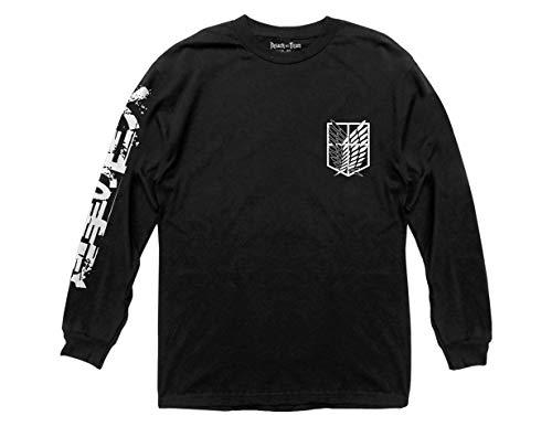 Ripple Junction Attack on Titan B&W Scout Regiment Adult Long Sleeve Tee Shirt Medium Black