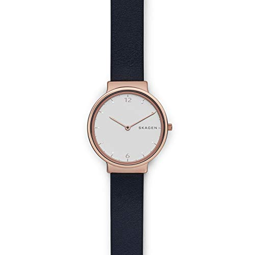 (Skagen Women's Ancher Quartz Stainless Steel and Leather Casual Watch, Color: Rose Gold-Tone, Blue (Model: SKW2608))