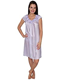 Beverly Rock Women's Solid Tricot Long Shiny Satin Silky Nightgown