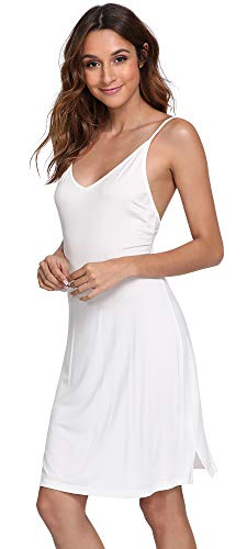 (GYS Womens'Modal V Neck Full Slip Nightgown, White, Small)