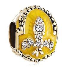 Charm Bead Enamel Egg Fleur De Lis Fabergé Style Pugster Charms Fits - Lis De Fleur Pugster