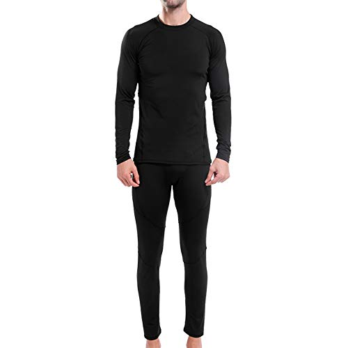 Krofaue Mens Thermal Underwear Set Compression Winter Base Layer Warm Top & Bottom Ultra Soft Gear Sport Long Johns Set