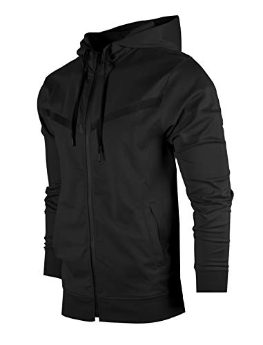 SCREENSHOTBRAND-F11850 Mens Urban Hip Hop Premium Tech Fleece Jacket - Slim Fit Spandex Hooded Fashion Top-Black-Small (Track Jacket Hooded)