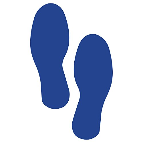 (ifloortape Blue Footprints | Industrial Premium Quality | Safety Aisle Visibility Markers (5 Pairs) 9.5 Inch)