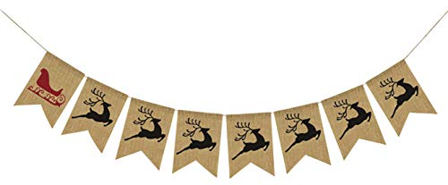 Santa's Sleigh & 7 Reindeer Burlap Banner - Ready to Hang Holiday Decor - Festive Christmas Seasonal Winter Decoration - Xmas Party Photo Prop Decorations - Rustic Bunting Garland by Jolly Jon ® (Stock Fireplace Door)