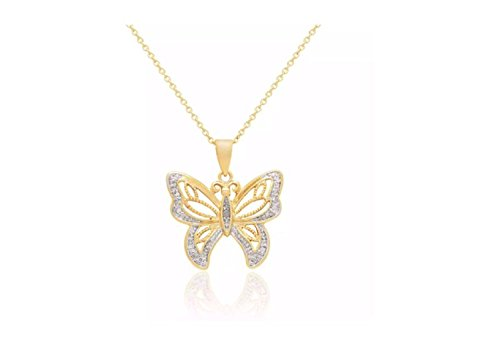 Finesque 14k Gold Overlay Diamond Fashion Accent Butterfly Shape Necklace - 14k Gold Overlay Accent