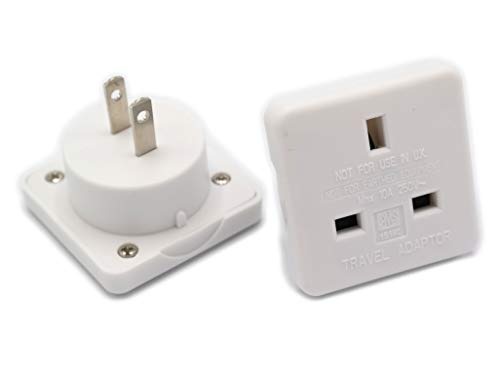 Uk Mains Plug Adaptor - Use UK Charger Plug in America. Mains Outlet Converter. Plug UK Type G to US Mains Receptacle Power Travel UK to USA Visitor Adaptor Pack of 2