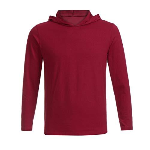 Haut Pure Rouge Chic Manches Slim Sportswear De Tops Capuche Pull À Tee Couleur shirts Impression Automne Vêtements Sweat Casual Mode Longues Lâche Lettres Hommes Adeshop Top q6w4H