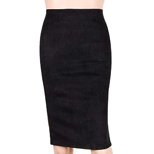Mfasica Women Hi-Waist Fall Business Velour All-Match Bodycon Mid Skirt Black L