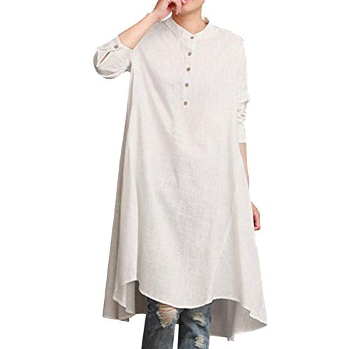 (OSTELY Womens Solid Kaftan Cotton Linen Long Sleeve Loose Blouse Tops Shirt Baggy Pullover (White,Large))