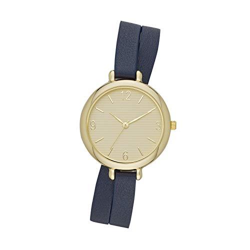 ZouZou Women's Three-Hand Watch Navy Vegan Leather Double Wrap Strap (FMDZZ007) ()
