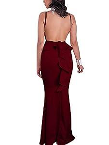 GOBLES Women Sexy Spaghetti Strap Backless Ruffle Bodycon Evening Mermaid Maxi Dress