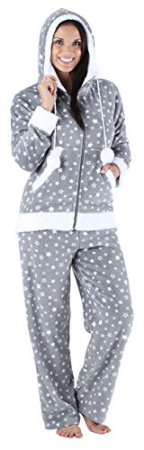 Fleece Pants Hoodie (Frankie & Johnny Women's Sleepwear Fleece 2-Piece Zip Hoodie and Pant Pajamas PJ Set, Grey Stars (FJ1145-1088-XL))