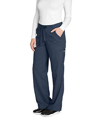 (Grey's Anatomy Women's 4245 Junior Fit 4-Pocket Elastic Back Scrub Pants, Steel, Large)