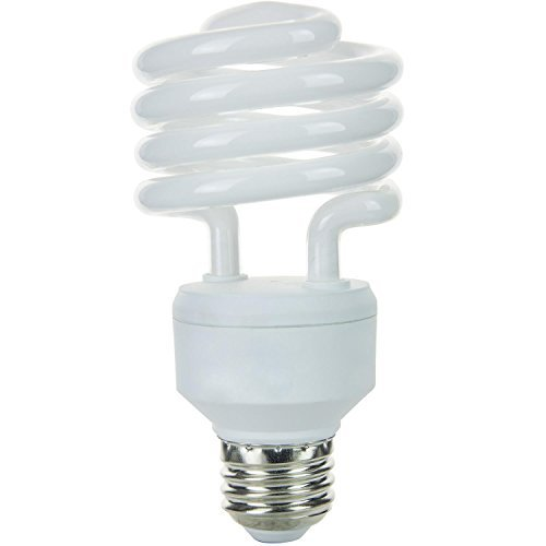 Sunlite SMS23/ES/27K/CD4 Fluorescent 23W (100W Equivalent) CFL T2 Spiral Light Bulbs, 2700K Warm White Light, Medium (E26) Base ()