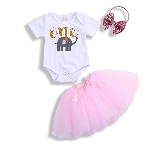 91a569258 Infant Baby Girls Skirt Set One 1st Birthday Elephant Print Romper+ ...