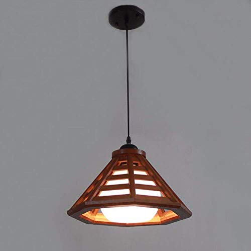 GUI Guo Home Hotel Decoration Lights, Vintage Chandeliers Creative Retro Restaurant Home Lighting Wooden Single Head American Style Red Dia.33Cm ()