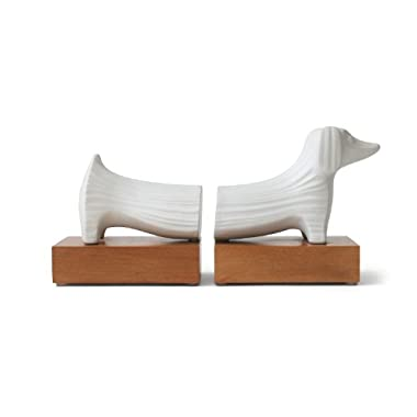 Jonathan Adler Dachshund Bookends with wood