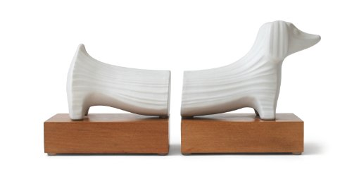 Jonathan Adler Dachshund Bookends with wood by Jonathan Adler