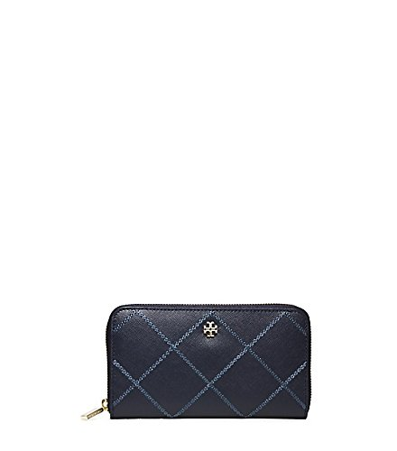 Tory Burch Robinson Stitched ZIP Continental Wallet Leather Navy New by Tory Burch