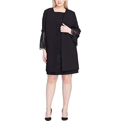 Tahari ASL Womens Plus Lace Trim 2 Piece Dress Suit Black 18W