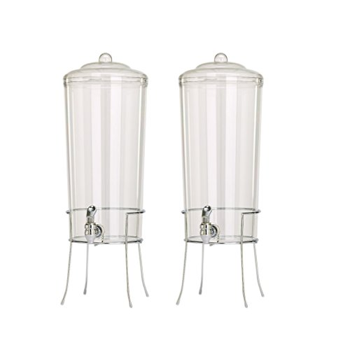 Buddeez Unbreakable Tritan Chilled Beverage Server with Chromed Wire Base, 2.25-Gallon (Set of 2)