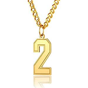 Best Epic Trends 31jFLIr2D%2BL._SS300_ ChainsPro Men 0-9 Jersey Number Necklace-Adjustable Chain, Baseball/Basketball/Football Team Jewelry, Durable Clasp…