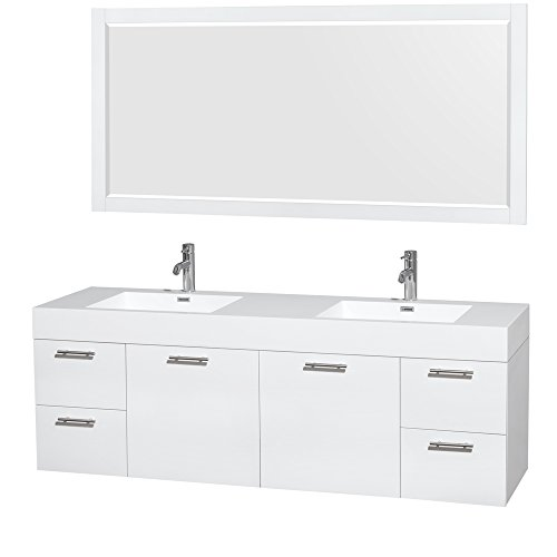- Wyndham Collection Amare 72 inch Double Bathroom Vanity in Glossy White, Acrylic Resin Countertop, Integrated Sinks, and 70 inch Mirror