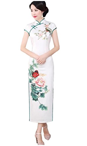 As1 Party Cheongsam Plus Size Retro Print Chinese Coolred Style Satin Dress Women 5XYnqPSwST
