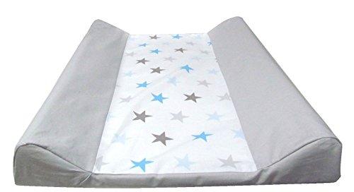 Wickeltischauflage - 2 Keil Mulde Sterne -BIG STARS 50x70 cm + Baumwollbezug (blau)