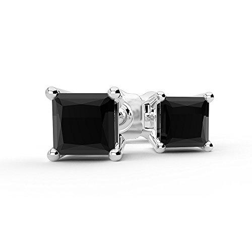 0,40ct Or Blanc 14Carats Diamant Noir Boucles d'oreilles 4griffes Coupe Princesse