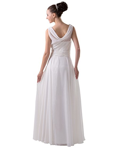 Dresses Long Drop Simple Dormencir Women's Waist Bridesmaid White Formal qv4CwS