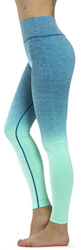 Prolific Health Fitness Power Flex Yoga Pants Leggings – All Colors – XS – XL (Medium, Ombre Aqua)