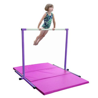 Horizontal Bar and Pink Folding Gym Mat