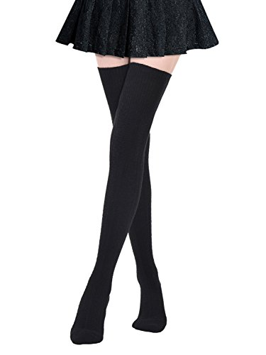Kayhoma Extra Long Cotton Thigh High Socks Over the Knee High Boot Stockings Cotton Leg Warmers (Opaque Heels High Thigh)