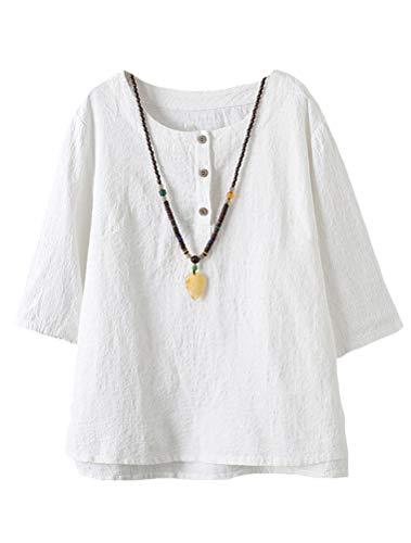 Minibee Women's 3/4 Sleeve Cotton Linen Jacquard Blouses Top T-Shirt White L