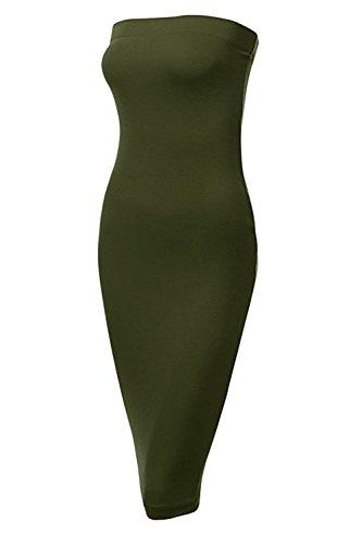 Fashion Boomy Women Strapless Basic Tube Bodycon Dress(Plus Size Available)