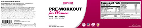 Nutricost Pre-Workout Powder for Women (Strawberry) 30 Servings