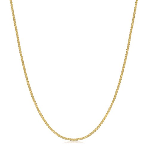 14k Yellow Gold Thin 0.8mm Round Wheat Chain (18 inch) - Gold Wheat Design