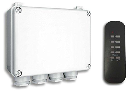 Smartwares SmartHome Funk-Dreifachschalter für Geräte bis 400 W mit Fernbedienung 4-Kanal für den Außenbereich, IP55, 1 Stück, SH5-SET-OB
