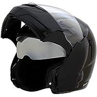 Vega Boolean BLN-K-M Flip-up Helmet with Double Visor (Black, M)