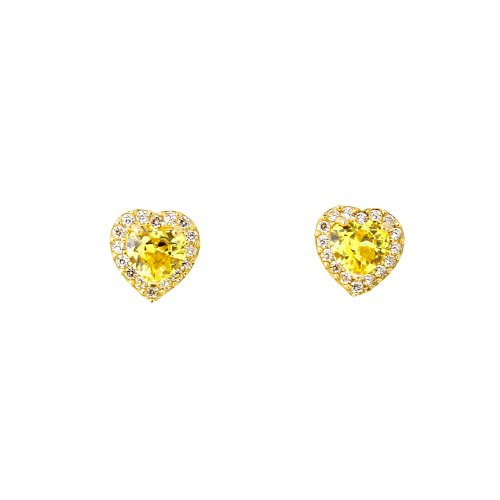 [For Babies, Kids] 14k Yellow Gold & Birthstone CZ Heart Halo Earrings - November - Simulated - Citrine Gold Heart