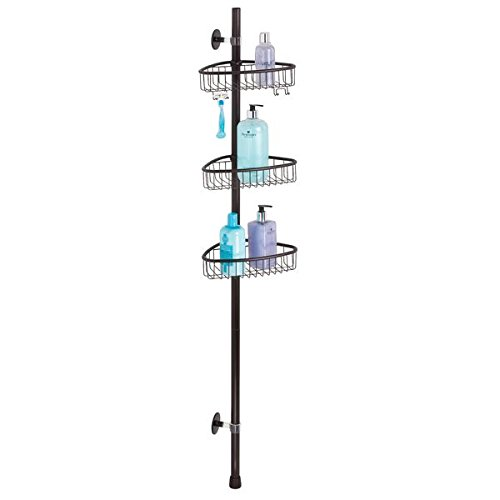 mDesign AFFIXX Peel-and-Stick Strong Self-Adhesive Bathroom Corner Shower Caddy Pole for Shampoo, Conditioner, Soap - Bronze