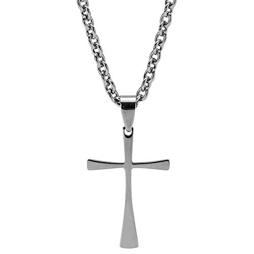 Cutout Box Cross In Shiny Textured Pewter Finish 18-Inch Pendant Necklace