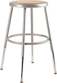 "National Public Seating 6218H Grey Steel Stool with Hardboard Seat Adjustable, 19"""